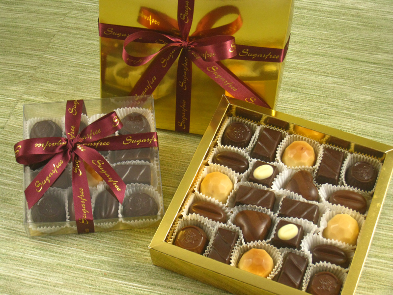 Sugar free gift box 22 chocolates in a gold box simone marie sugar free chocolate negle Image collections