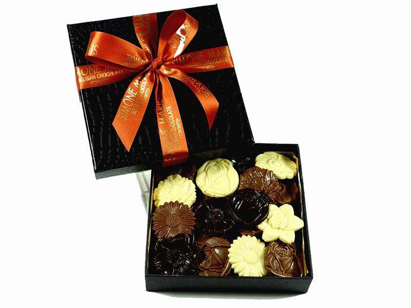 Flowers Black Gift Box 300g Simone Marie Belgian Chocolate